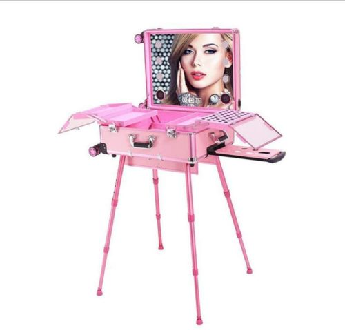 JYZ Makeup Case, Makeup Train Suitcase with Built-in Lights & 4 Rolling Wheels & Mirror,Professional Artist Trolley Studio Free Standing