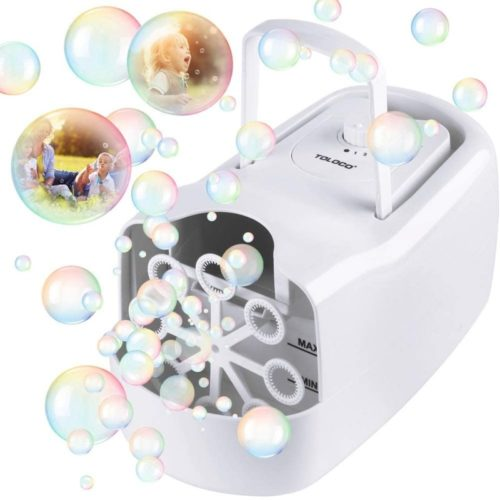 TOLOCO Bubble Machine,Automatic Bubble Blower Portable Bubble Maker for Kids,3000 Bubbles Per Minute,Plug-in or Batteries,for Outdoor/Indoor Party Birthday (White)