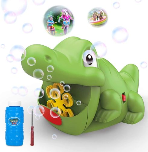 WisToyz Bubble Machine Automatic Bubble Blower 500+ Bubbles per Minute, Indoor Outdoor Bubble Machine for Kids, Baby Bath Toys Easy to Use Bubble Maker with 4OZ Bubble Solution 2 AA Batteries Required