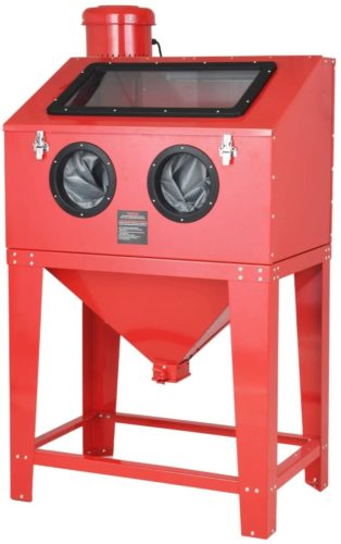 SUNCOO Bench Top Abrasive Blast Cabinet with Dust Collection Reclaimer System for Rust Grime Paint Removing/Various Media Compatible Pressure Benchtop Sandblaster Cabinet