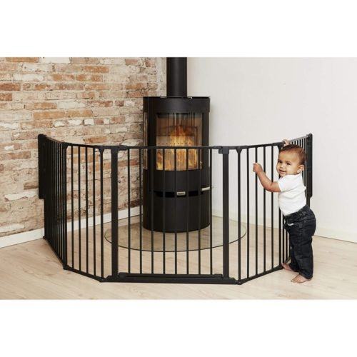 BabyDan Flex Hearth 35.4-109.5 Inch Wide Extra Large Size Safety Baby Gate for Fireplace, Hearths, and Doorways, Black