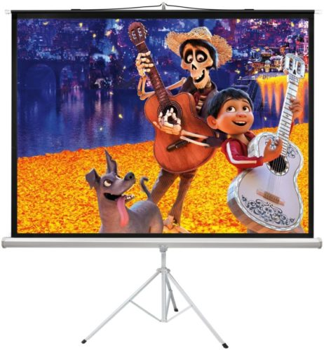 PERLESMITH 100 Inch Projector Screen with Stand Portable for Outdoor Indoor - 4:3 Pull up Foldable Height Adjustable Wrinkle-Free Projection Screen Tripod...