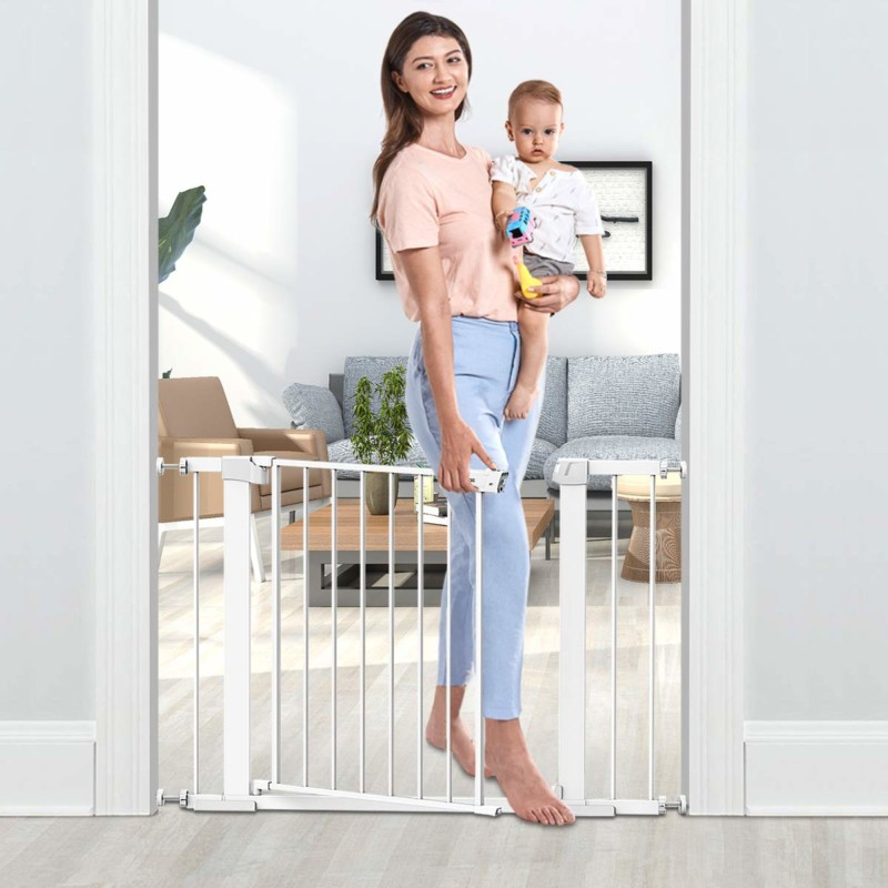 "Tokkidas Auto Close Safety Baby Gate, 29.5""-40.6"" Easy Walk Thru Child Gate for Doorways,Stairs,Includes 2.75"" and 5.5"" Extension,4 Pack Pressure Mounts and 4 Pack Wall Cups"