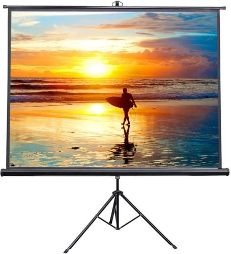 """VIVO 100"""" Portable Indoor Outdoor Projector Screen, 100 Inch Diagonal Projection HD 4:3 Projection Pull Up Foldable Stand Tripod (PS-T-100)"""