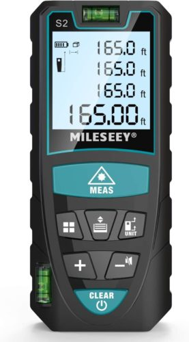 Laser-Measure-Mileseey-165-Feet-Digital-Laser-Distance-Meter-with-2-Bubble-LevelsM-Unit-switching-Backlit-LCD-and-Pythagorean-Mode-Measure-Distance-Area-and-Volume-165-Feet