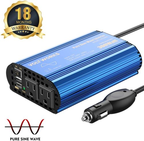 300W-Pure-Sine-Wave-Power-Inverter-for-Car-Truck-RV-Adapter-DC-12V-to-AC-110V-120V-with-Dual-4.8A-USB-Port-AC-Outlets-by-VOLTWORKS