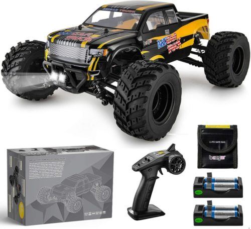 BEZGAR 1 Hobbyist Grade 1:12 Scale Remote Control Truck, 4WD High Speed 42 Km/h All Terrains Electric Toy Off Road RC Monster Vehicle Car Crawler with 2 Rechargeable Batteries for Boys Kids and Adults