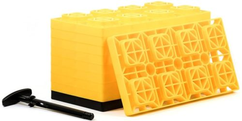 Camco 21023 FasTen 4x2 Leveling Block For Dual Tires, Interlocking Design Allows Stacking To Desired Height, Includes Secure T-Handle Carrying System, Yellow (Pack of 10) (44515) TOP 10 BEST LEVELING BLOCKS IN 2021 REVIEWS