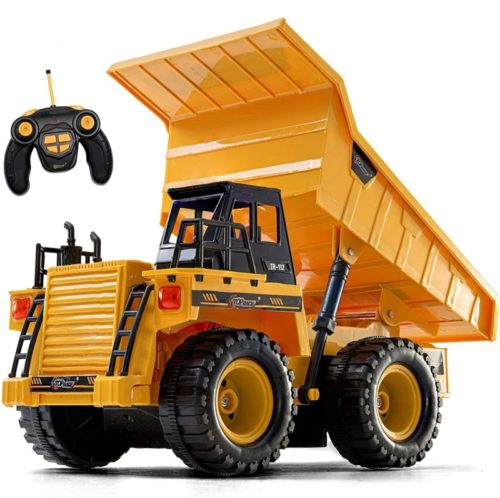 Top Race Remote Control Construction Dump Truck Toy, RC Dump Truck Toys, Construction Toys Vehicle, RC Truck Toys for 2,3,4,5,6,7,8,9 Year Old Boys and up, Toddler Toy Trucks 1:18 Scale, TR-112