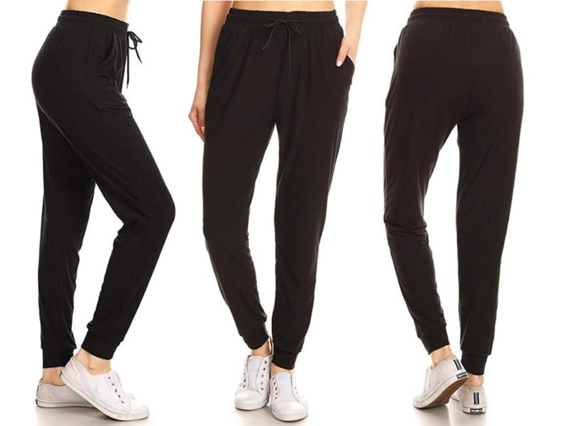 1. Leggings Depot Women's Printed Solid Activewear Joggerne