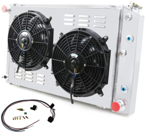 Primecooling 52MM 3 Row Core Aluminum Radiator +Fan (12 Inches Dia.) w/Louver Shroud for Chevy/GMC,C10 C20 C30 K10 K20 C/K 1970-87